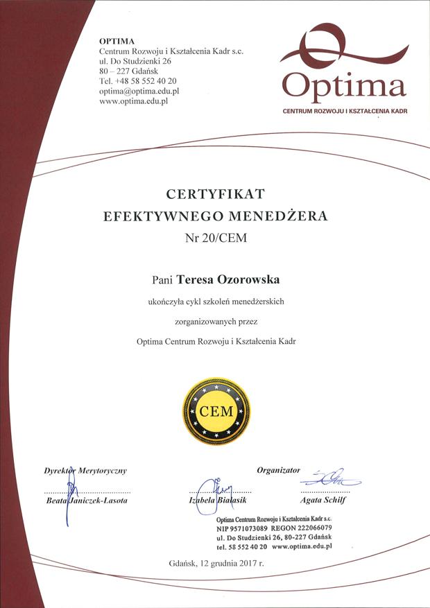 Certyfikat Efektywnego Menedżera