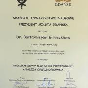 Dr Bartłomiej Gliniecki oraz dr Tomasz Snarski laureatami nagrody Gdańskiego Towarzystwa Naukowego i Prezydenta Miasta Gdańska z